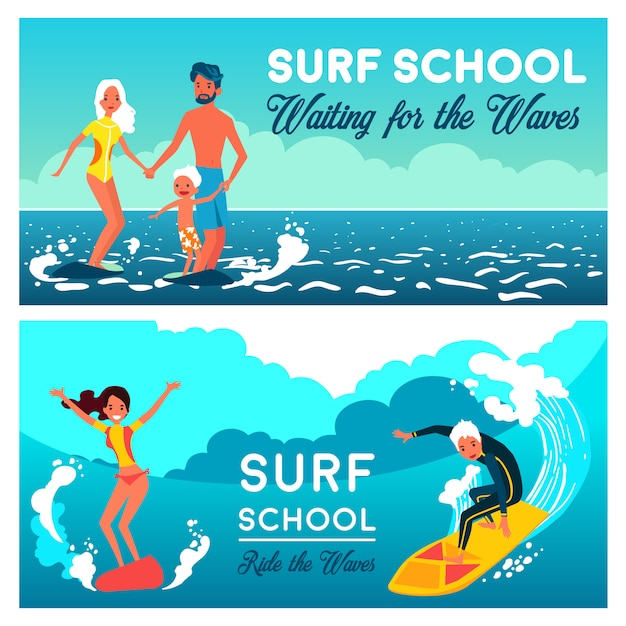 Surf school horizontal banners Free Vector