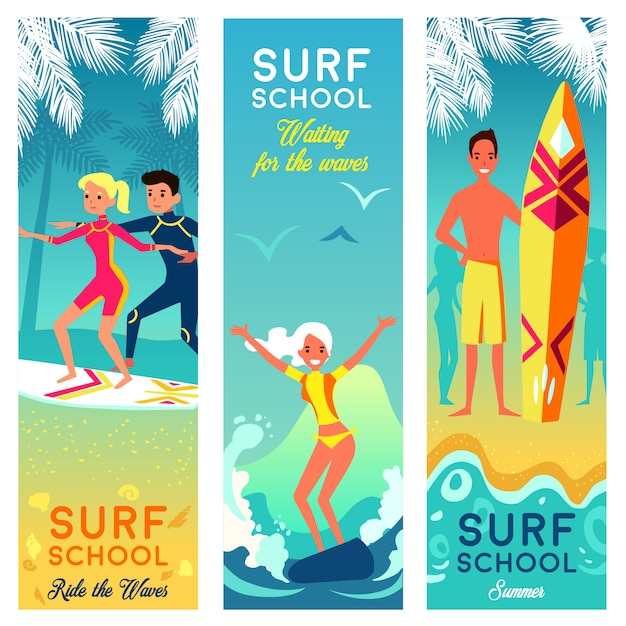 Surf school vertical banners Free Vector