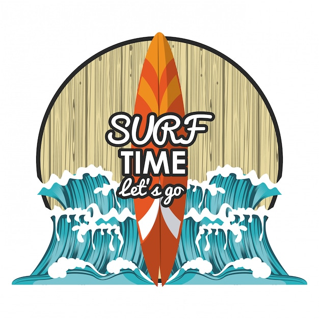 Surf time cartoon Premium Vector
