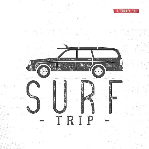 Концепция путешествия серфинга вектор лето серфинг ретро значок Premium векторы