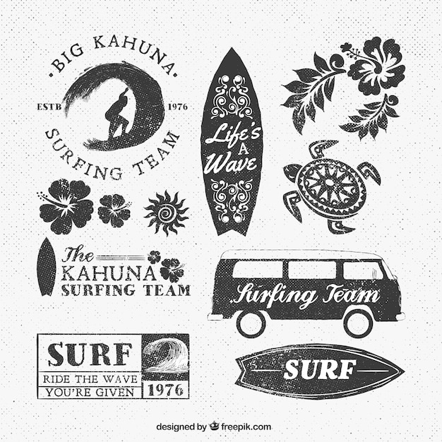 Surf команда логотипы Бесплатные векторы