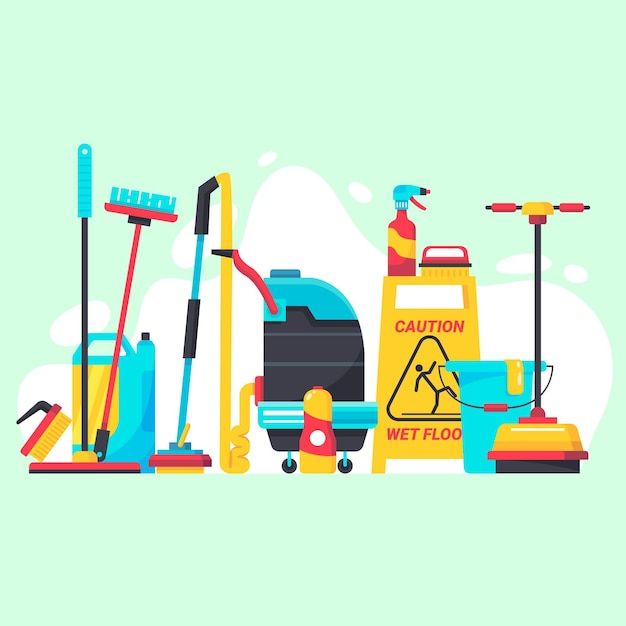 Surface cleaning equipment concept Premium Vector