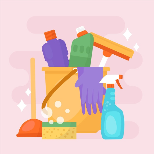 Surface cleaning products pack Free Vector