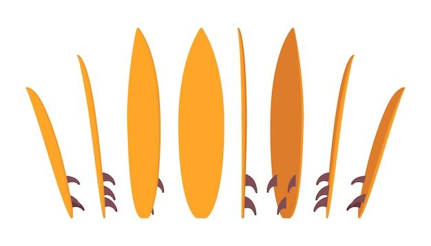 다른 위치에 서있는 서핑 보드 밝은 세트 프리미엄 벡터