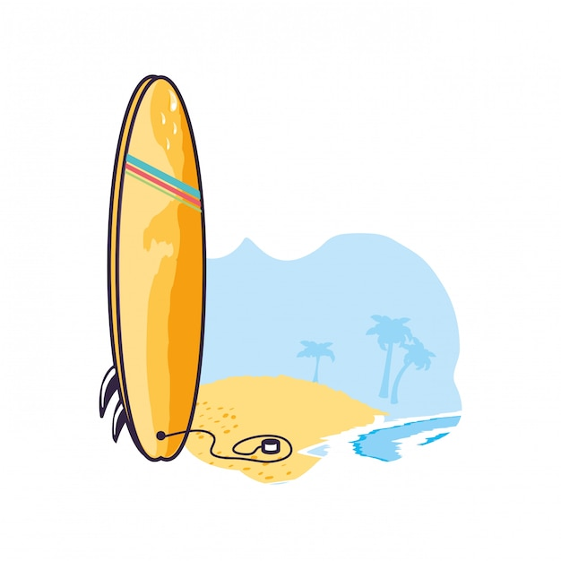Surfboard equipment sport in the beach Premium Vector