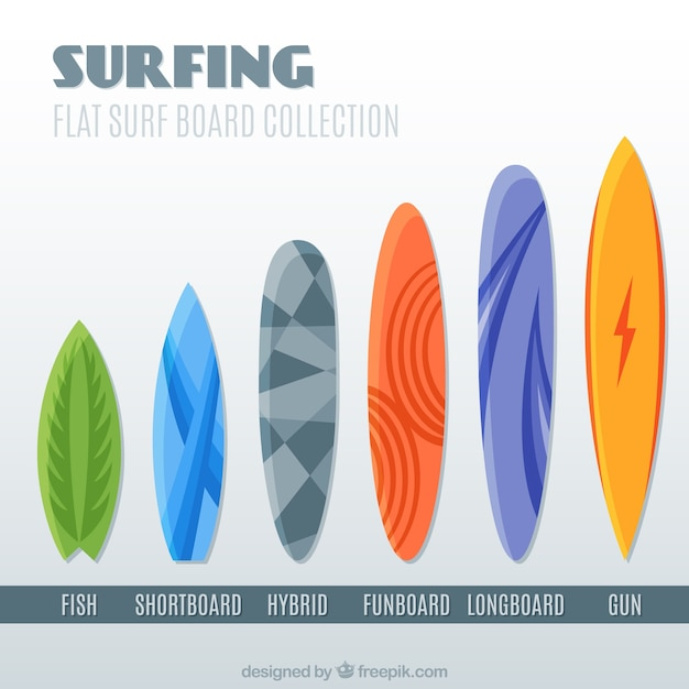 Surfboard in different size