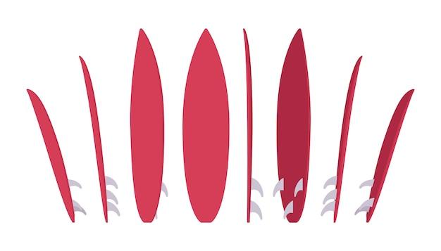 서핑 보드 세트, 서핑 장비의 스포츠 프리미엄 벡터