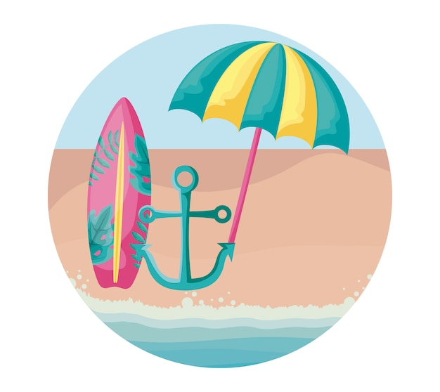 d2b27cc353de Surfboard with umbrella open and anchor in beach Vector | Premium ...