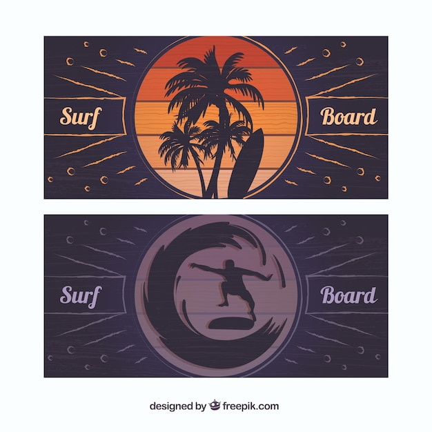 Surfboards banners Free Vector