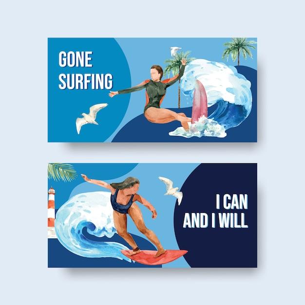Tavole da surf in spiaggia design per le vacanze estive tropicali e relax illustrazione vettoriale acquerello Vettore gratuito