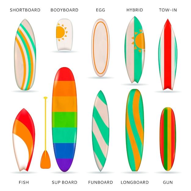 Surfboards цветная реалистичная коллекция Бесплатные векторы