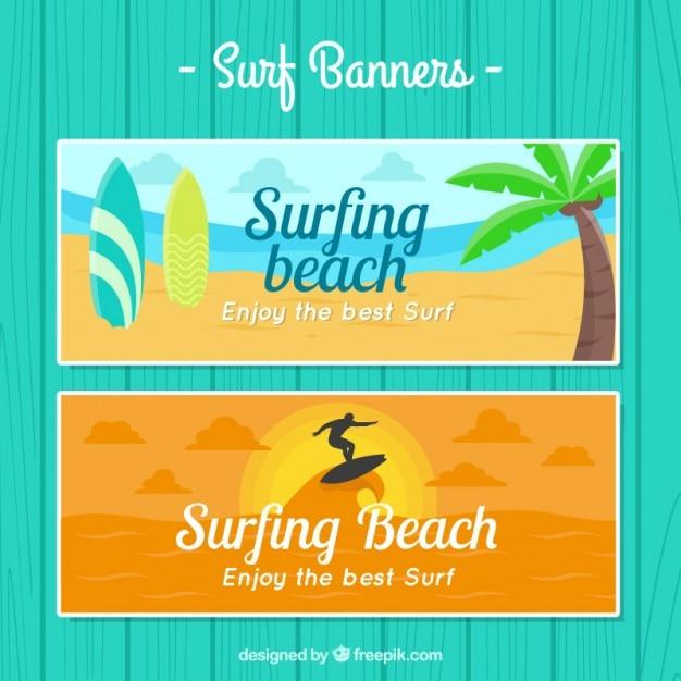 Surfer banners beach landscape