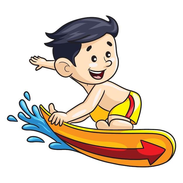 Мультфильм мальчик серфер Premium векторы