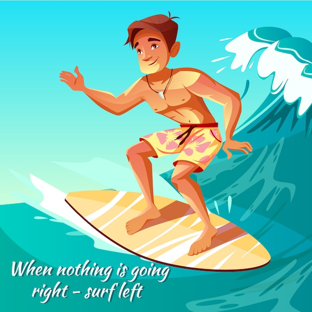 Surfer boy illustration of young man or guy at surfboard on ocean wave for poster Free Vector
