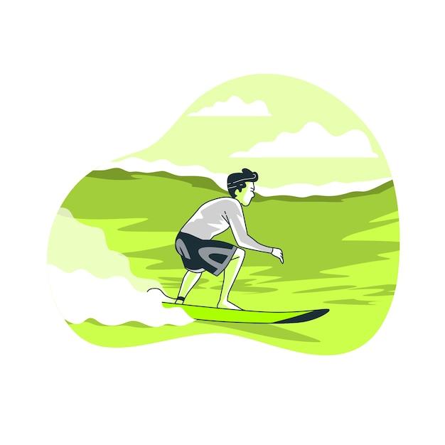 Surfer concept illustration Free Vector