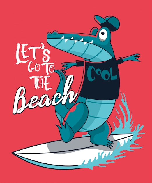 Surfer crocodile vector design Premium Vector