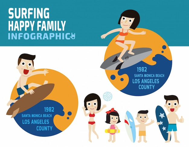 Surfer man and surfer woman on blue ocean wave. Premium Vector