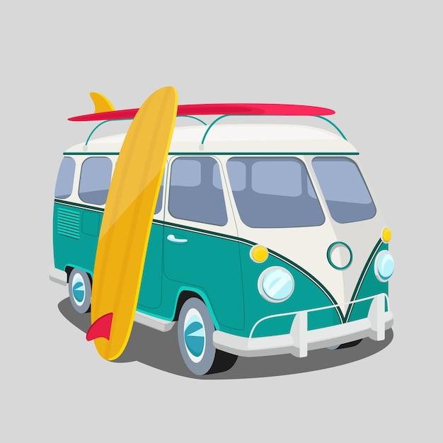 Surfer van. trasporto e surf, tavola da sport Vettore gratuito