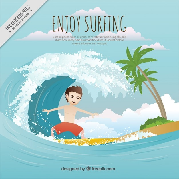 Surfer with a big wave on the beach background Free Vector