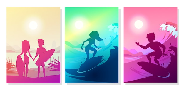 Surfers at ocean illustration of boy and girl\ couple with boards at Hawaii beach.
