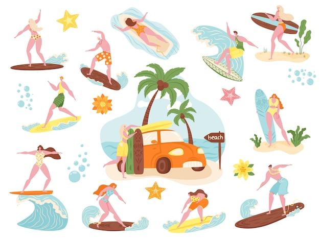 サーファー、ビーチの人々サーフィンイラストセット、漫画アクティブな男性女性キャラクター水泳、海の波のアイコンでサーフボードでサーフィン Premiumベクター