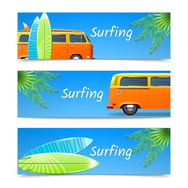Surfing banners horizontal set Free Vector