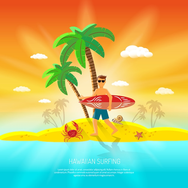 Surfing beach concept Free Vector
