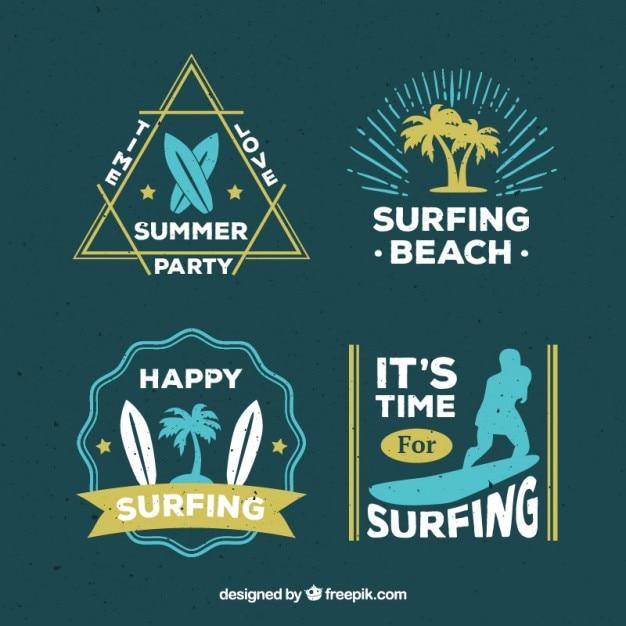Surfing beach labels