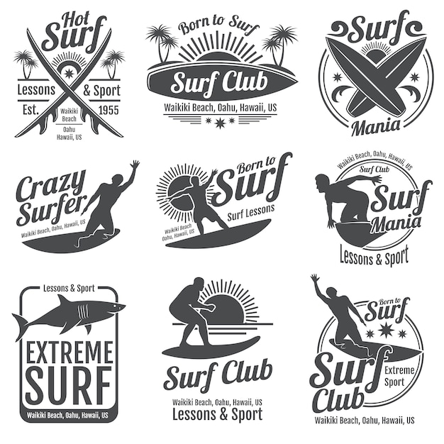 Surfing club vintage emblems. surfboard on wave signs Premium Vector