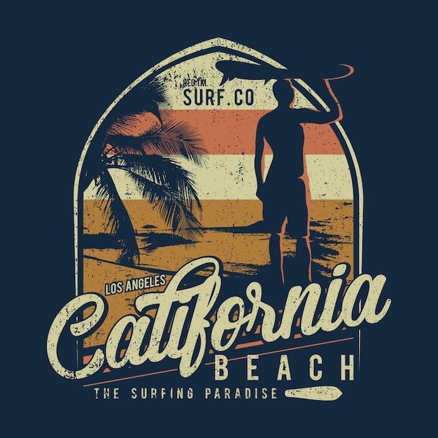 Surfing design california beach background Premium Vector
