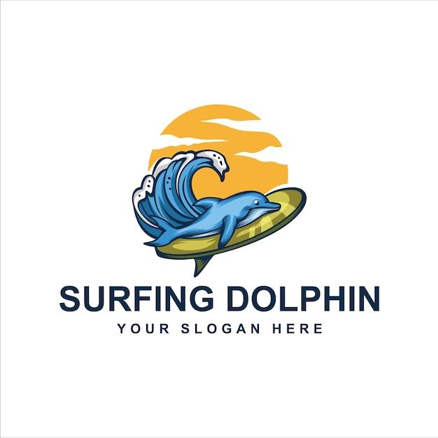 サーフィンイルカのロゴ Premiumベクター