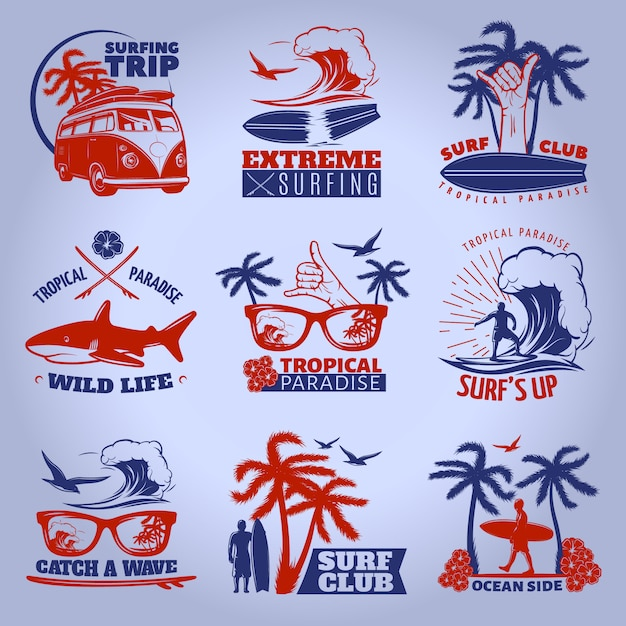Surfing emblem set on dark with surfing trip extreme surfing tropical paradise wild life descriptions vector illustration Free Vector