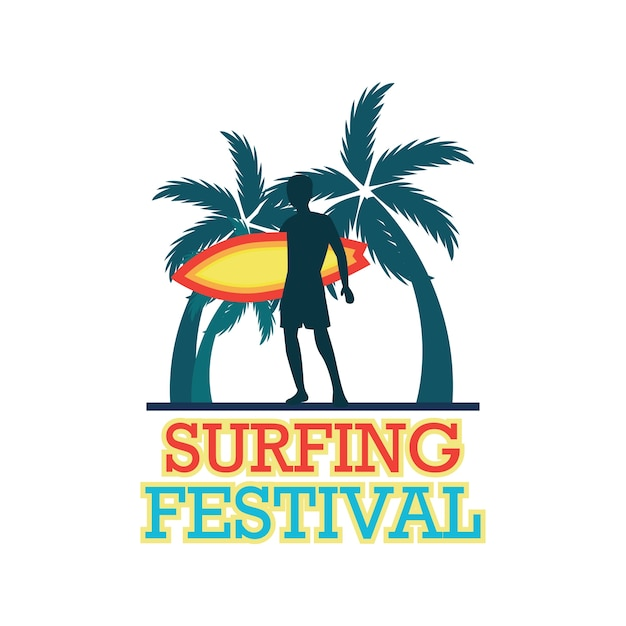 Surfing festival banner for surfing\ competition. vector illustration