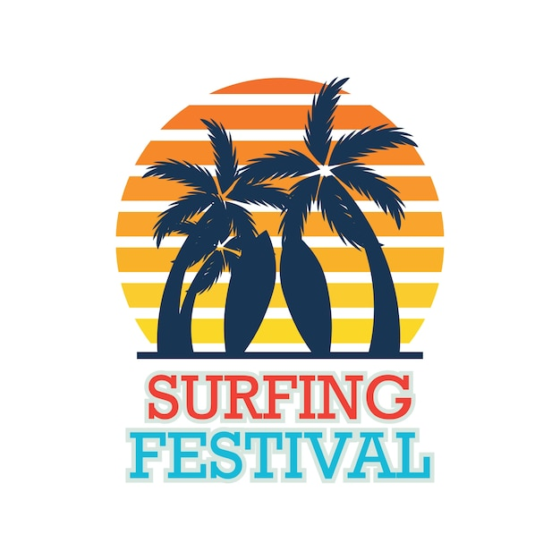 Surfing festival banner for surfing competition. vector illustration Free Vector