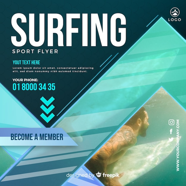 Surfing flyer Free Vector
