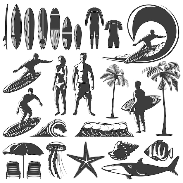 Surfing icon set Free Vector