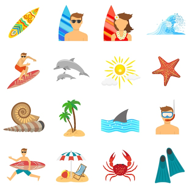 Surfing icons flat set Free Vector