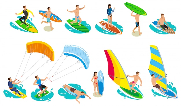 サーフィン等尺性およびさまざまなモデルと種類の帆サーフボード 無料ベクター