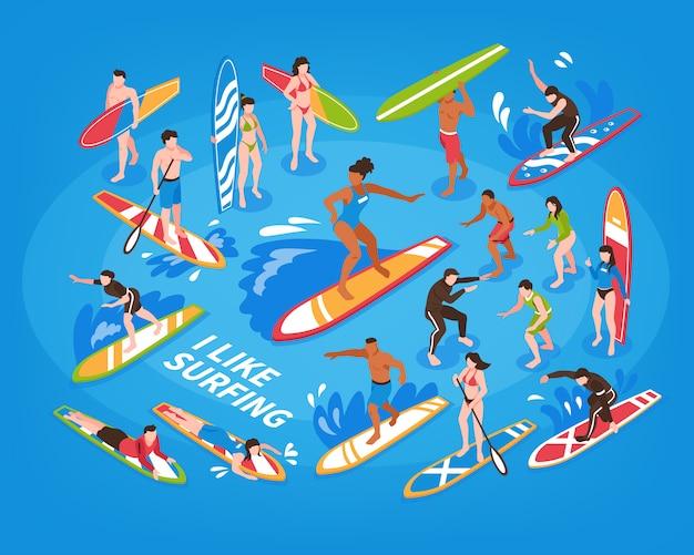 Illustrazione blu isometrica praticante il surfing Vettore gratuito
