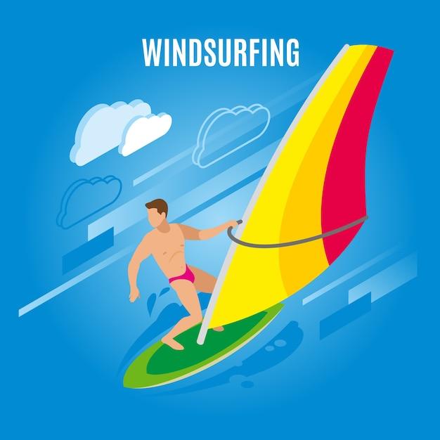 帆と雲の画像とサーフボード上の男性キャラクターの図とサーフィンの等尺性イラスト 無料ベクター