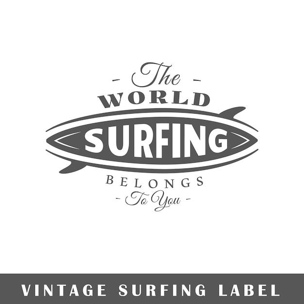 Surfing label  on white background.  element. template for logo, signage, branding .  illustration Premium Vector
