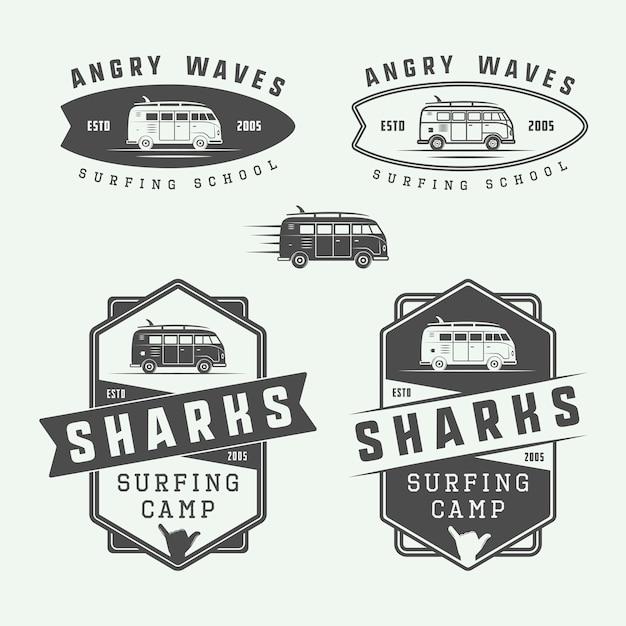 Surfing logo set Premium Vector