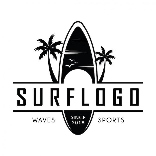 Surfing logo Premium Vector