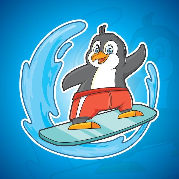 Серфинг пингвин Premium векторы