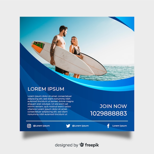 Surfing poster template with photo Free Vector