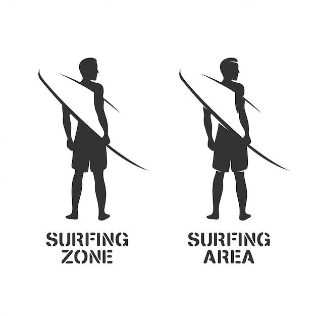Surfing related wall art stencil Premium Vector