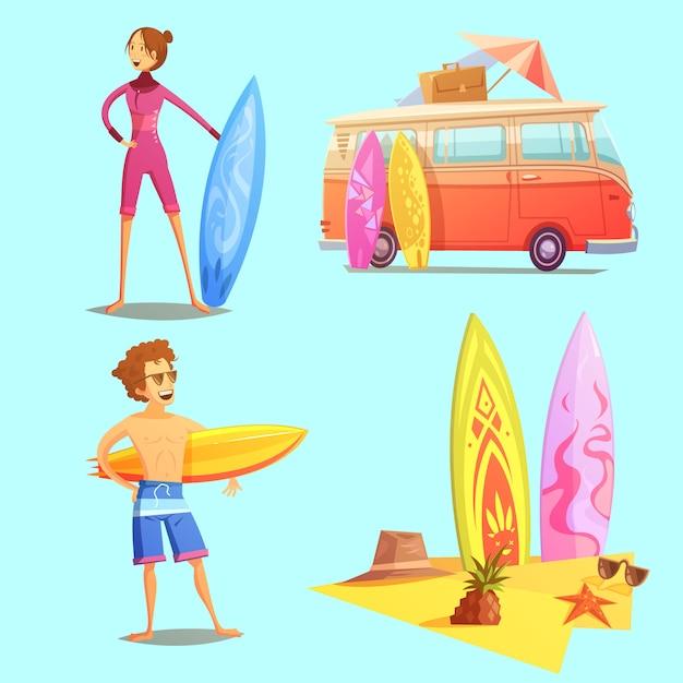 Surfing retro cartoon icons Free Vector