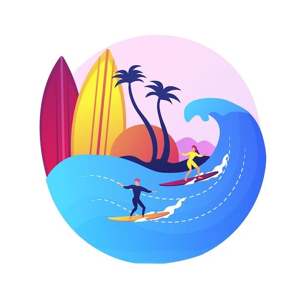 Ученица школы серфинга. водный спорт, индивидуальные тренировки, летний отдых. молодая девушка учится балансировать на доске для серфинга. женский серфер на волне. Бесплатные векторы