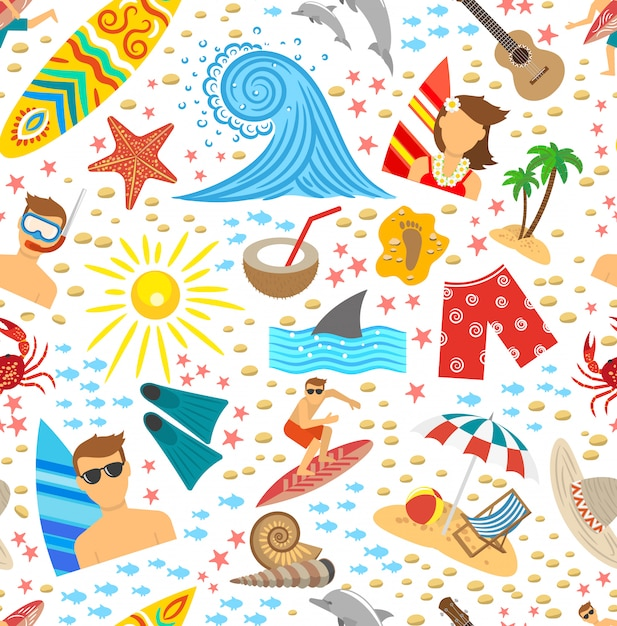 Surfing seamless pattern Free Vector