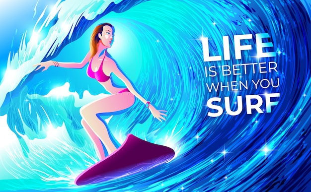 Surfing though the tunnel Premium Vector
